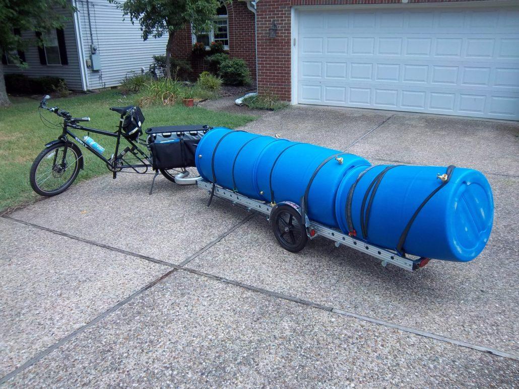 Hauling barrels by bike