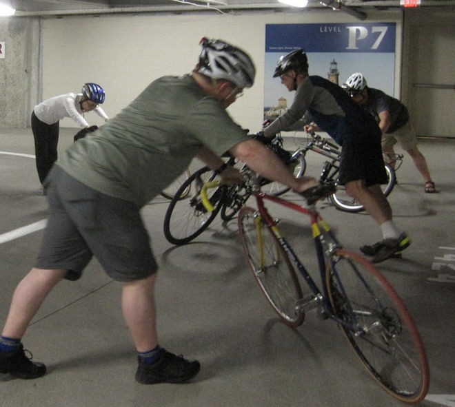How far can a bicycle lean before it skids out? Preparation for quick-turn practice. Photo by John Schubert