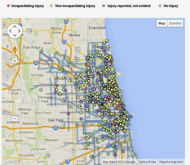 Doorings of cyclists in Chicago