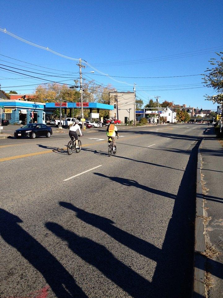 Cyclists on Congress Street Portland ME