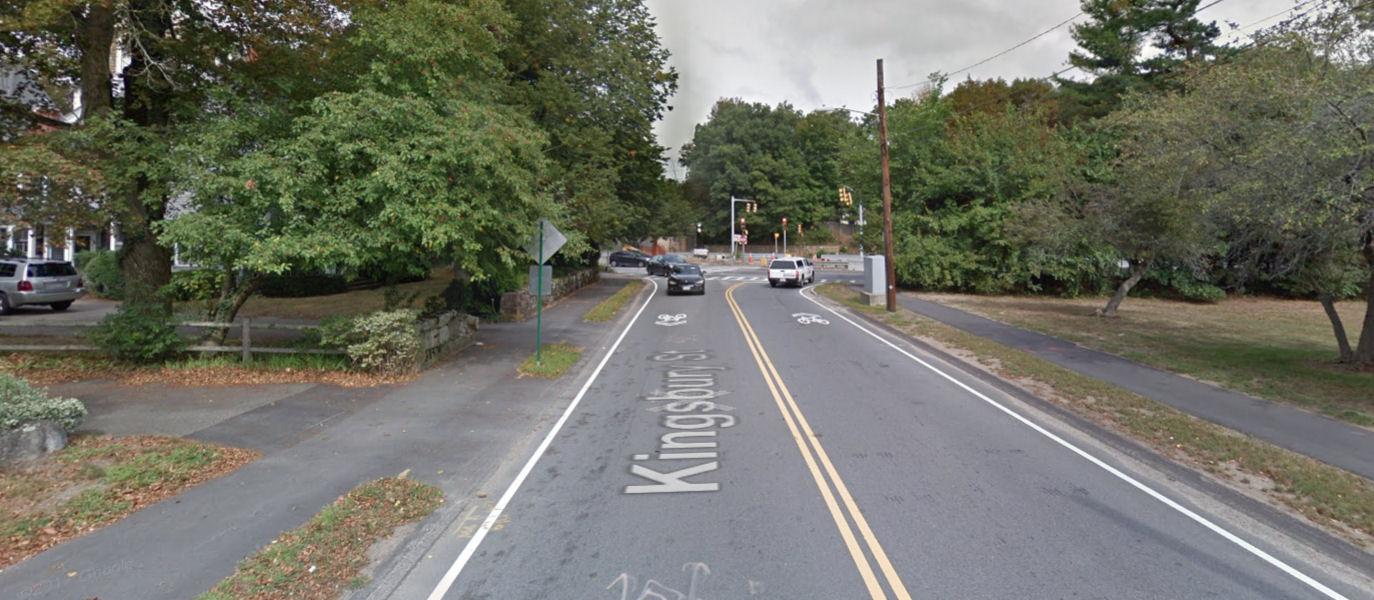 Looking toward Route 9 from Kingsbury street (Wellesley, MA)