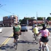 CyclingSavvy group at Woodford Corner, Portland, ME