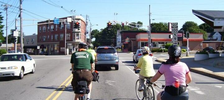 CyclingSavvy group at Woodford Corner, Portland, ME