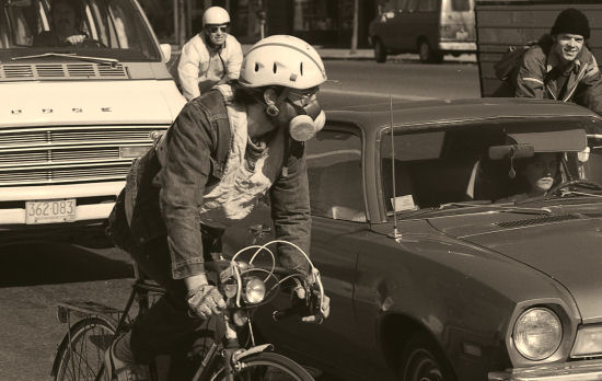 Should bicyclists wear face masks? The author wore one in 1978.