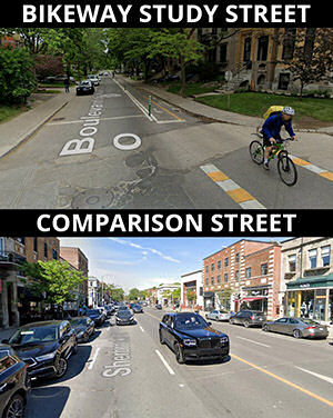 montreal study comparison streets with and without separated bike lanes