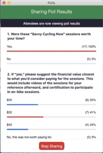 CyclingSavvy zoom poll