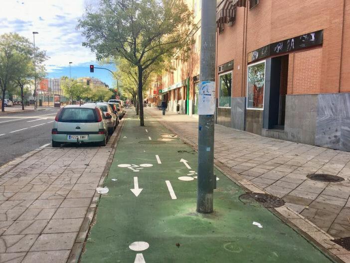Sidewalk bikeway in Seville, Spain
