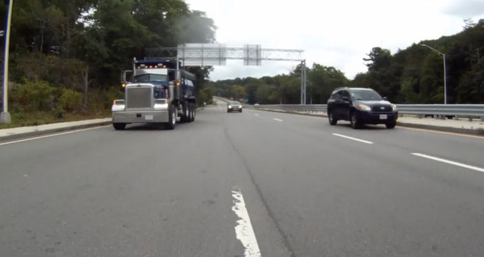 Truck entering off-ramp from Route 9
