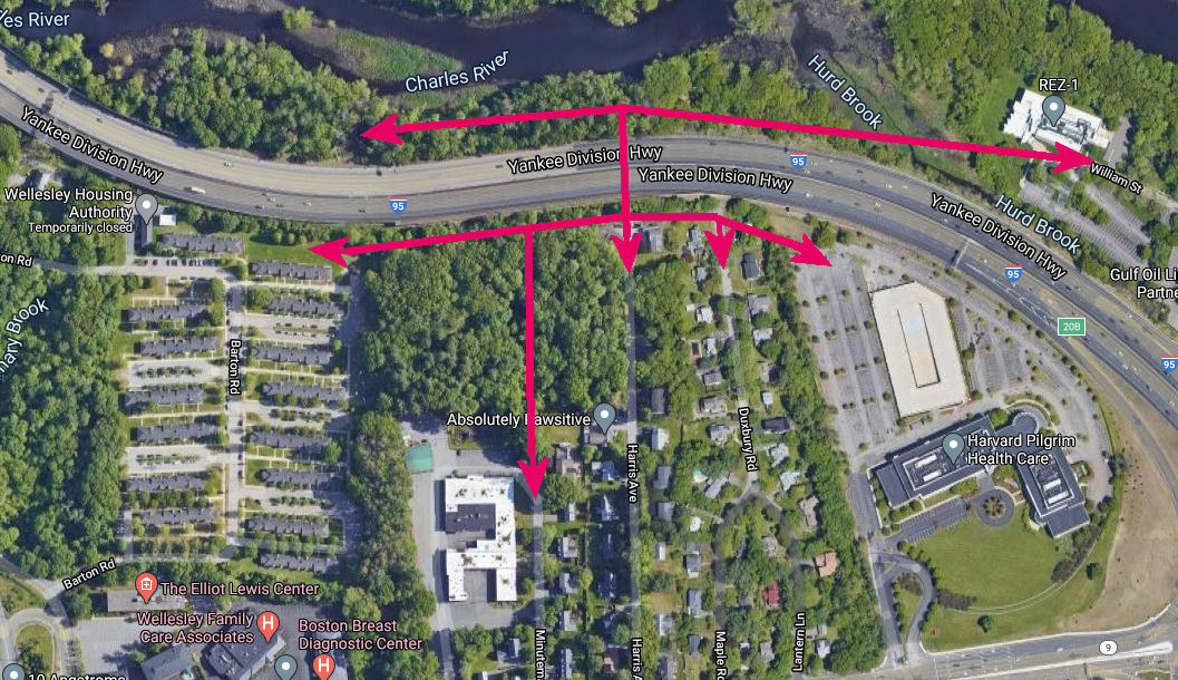 Paths to provide alternative access and open up a riverfront park
