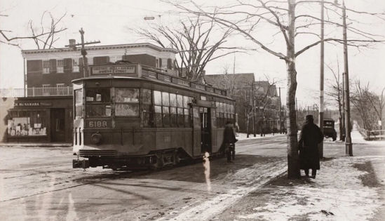 Trolley on the Worcester Turnpike in Brookline