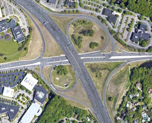 Route 9-Interstate 95 interchanges: overhead view