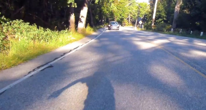 Safe passing -- you can see my hand signal in my shadow.