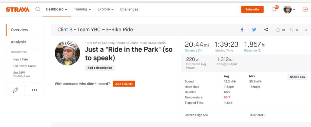Strava report on a ride of Clint Sandusky's